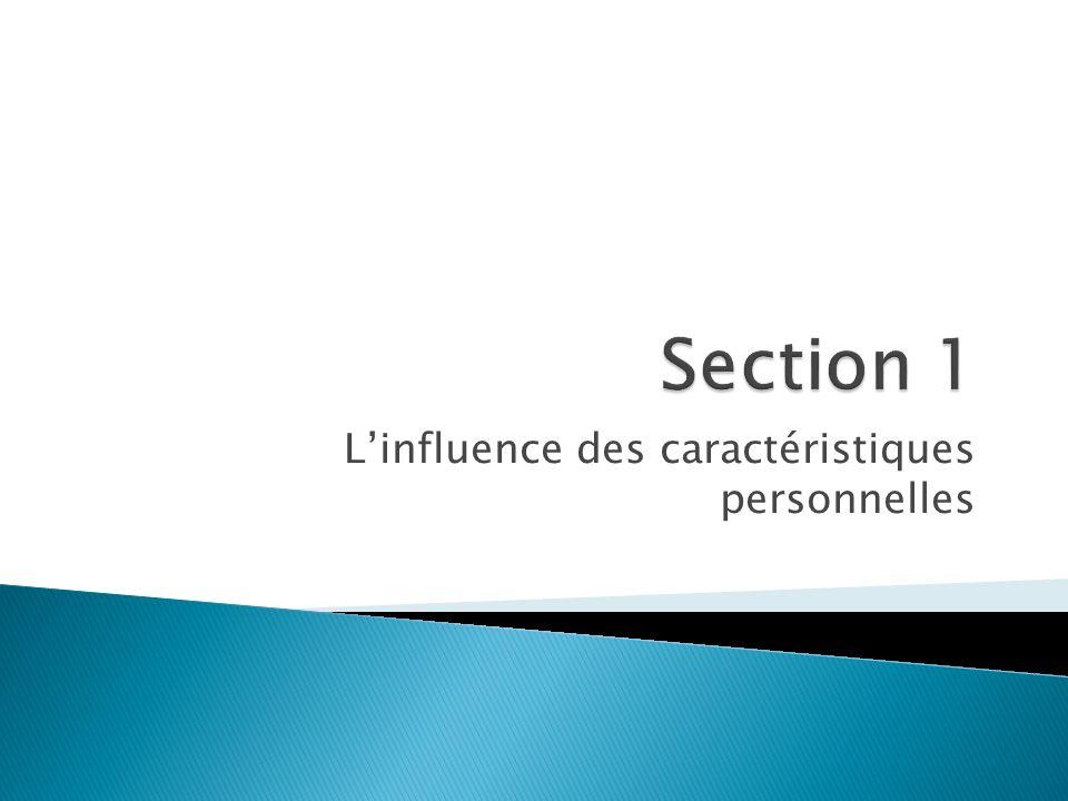 L'influence des caractéristiques personnelles