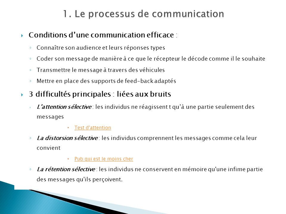 1. Le processus de communication