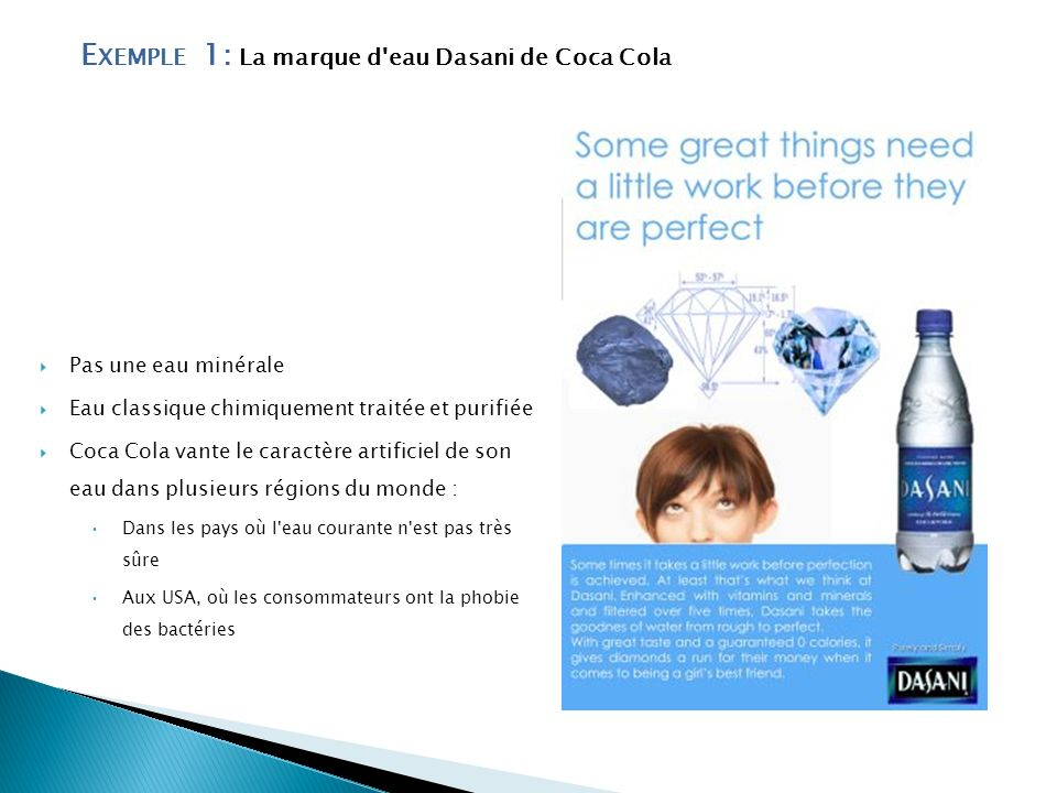 Exemple 1: La marque d eau Dasani de Coca Cola