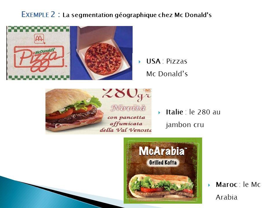 Exemple 2 : La segmentation géographique chez Mc Donald's
