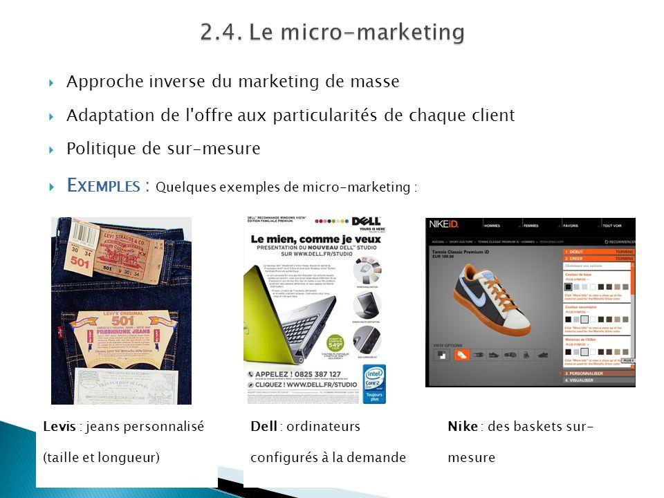 2.4. Le micro-marketing Approche inverse du marketing de masse. Adaptation de l offre aux particularités de chaque client.