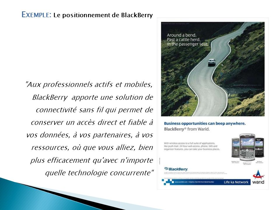 Exemple: Le positionnement de BlackBerry