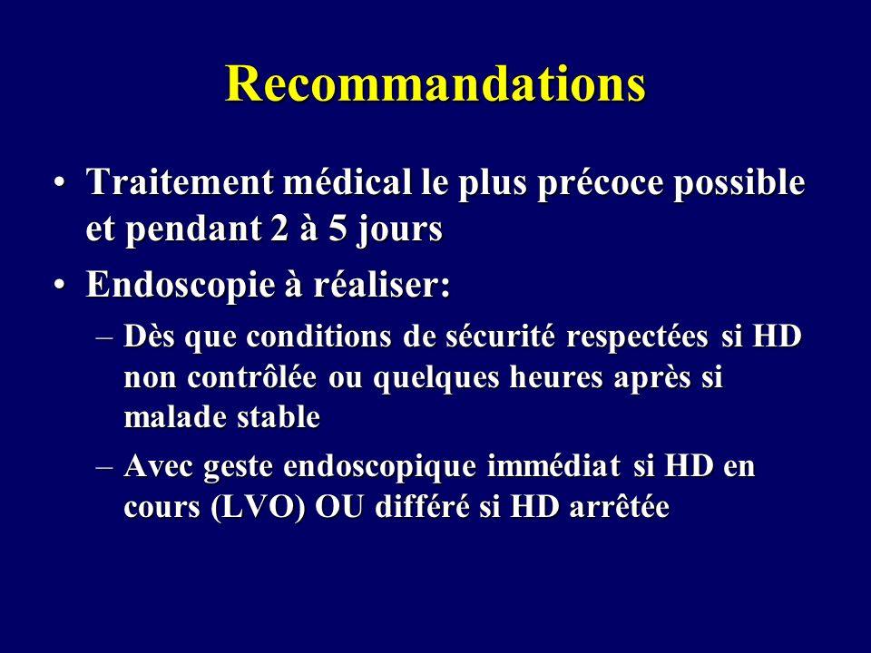 Recommandations Traitement médical le plus précoce possible et pendant 2 à 5 jours. Endoscopie à réaliser: