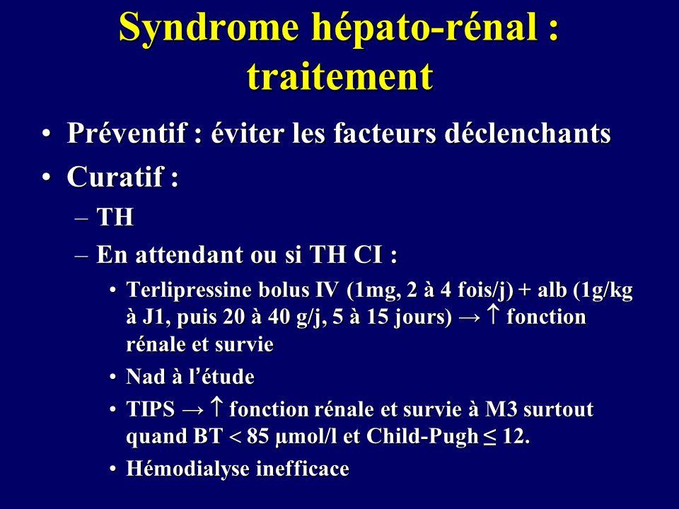 Syndrome hépato-rénal : traitement