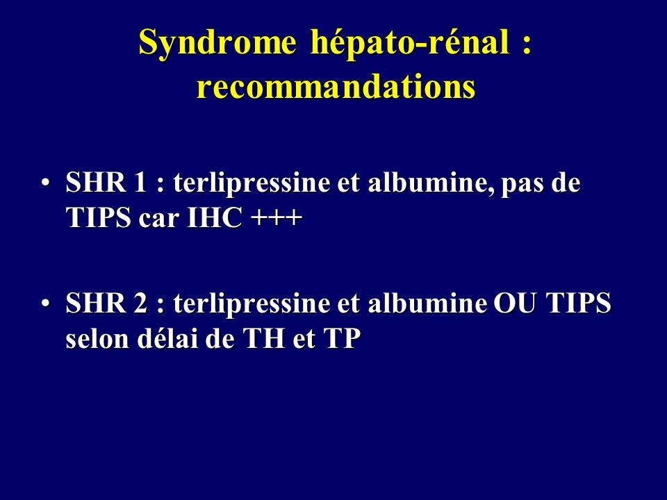 Syndrome hépato-rénal : recommandations