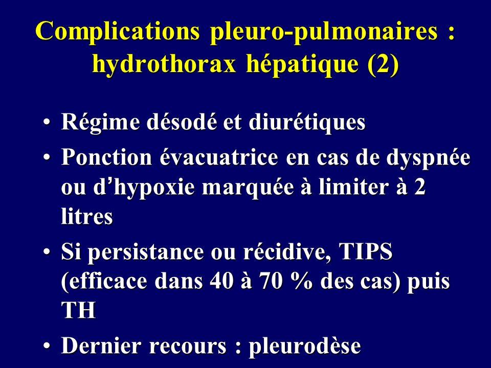 Complications pleuro-pulmonaires : hydrothorax hépatique (2)