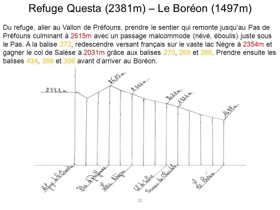 Refuge Questa (2381m) – Le Boréon (1497m)
