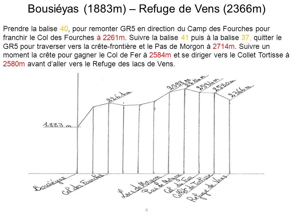 Bousiéyas (1883m) – Refuge de Vens (2366m)