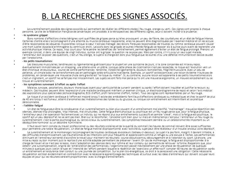 B. LA RECHERCHE DES SIGNES ASSOCIÉS.