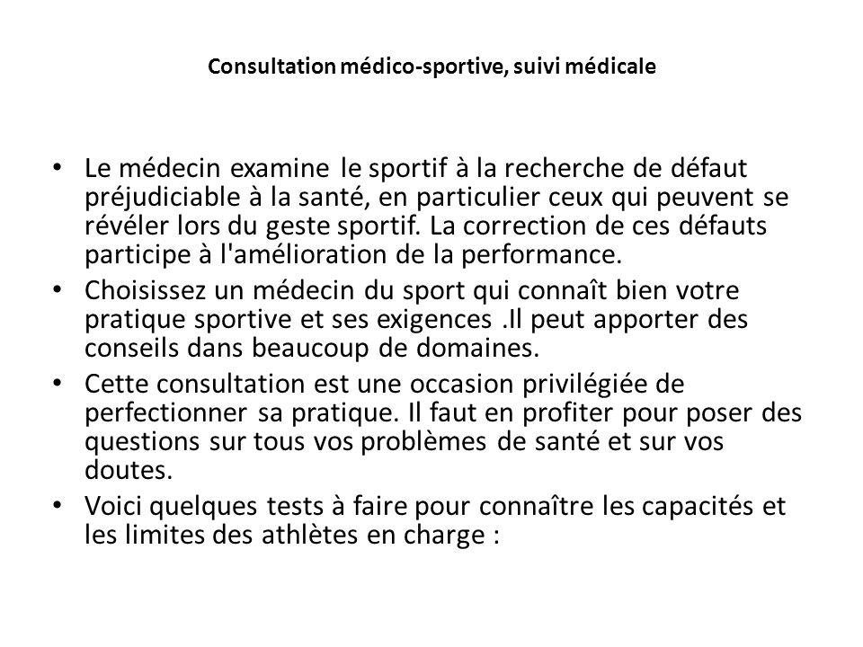 Consultation médico-sportive, suivi médicale