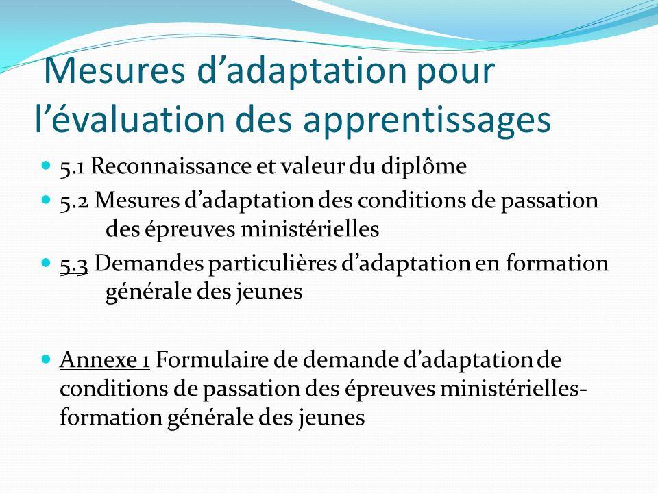 CHAPITRE 5 Mesures d'adaptation pour l'évaluation des apprentissages