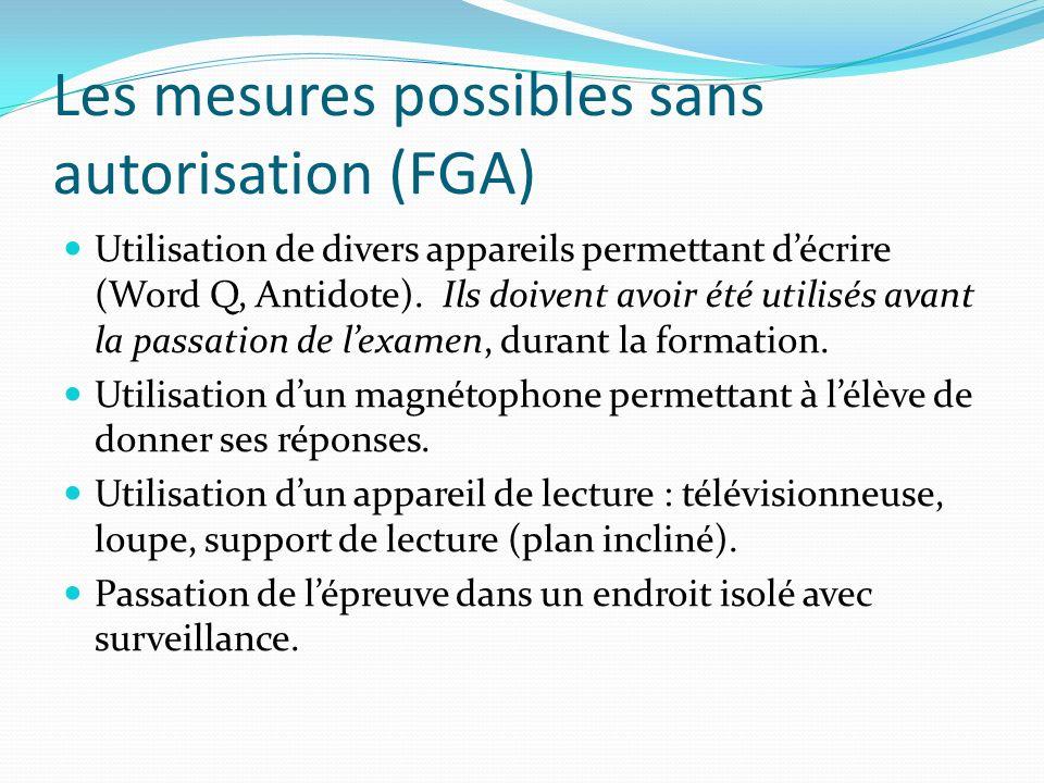 Les mesures possibles sans autorisation (FGA)