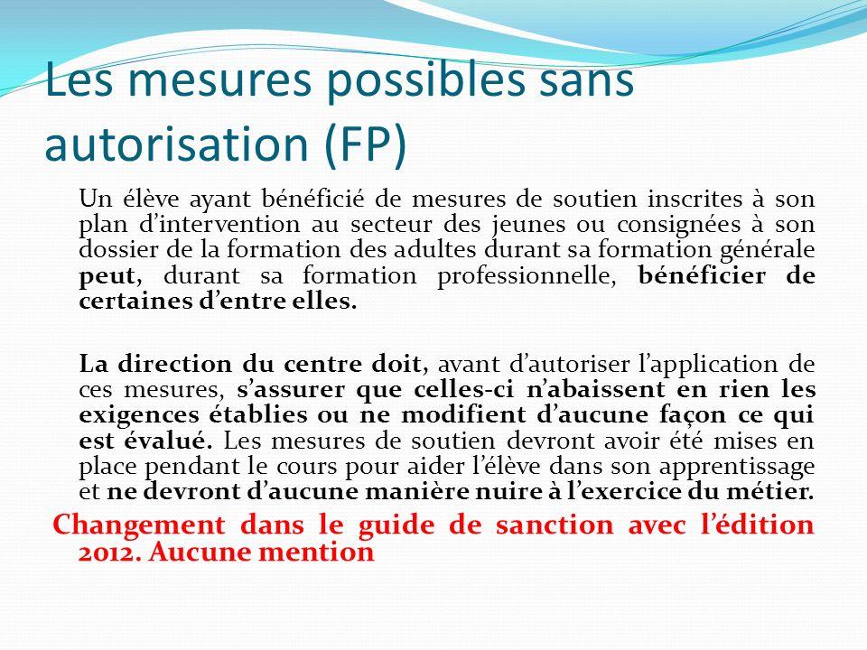 Les mesures possibles sans autorisation (FP)