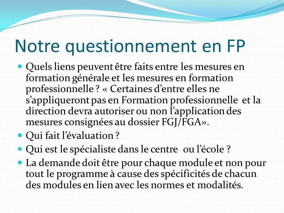 Notre questionnement en FP