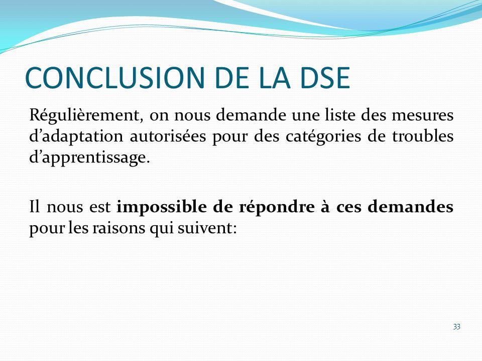 CONCLUSION DE LA DSE