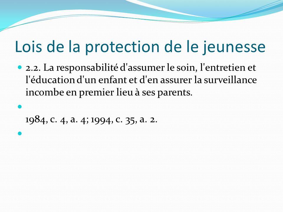 Lois de la protection de le jeunesse