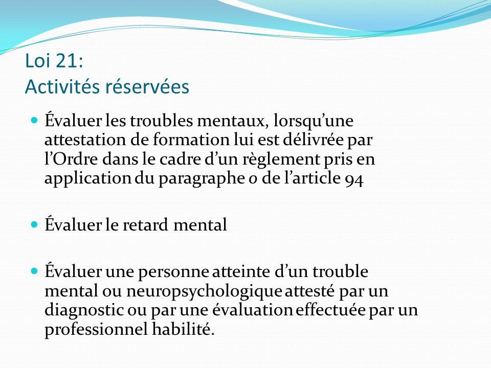 Loi 21: Activités réservées