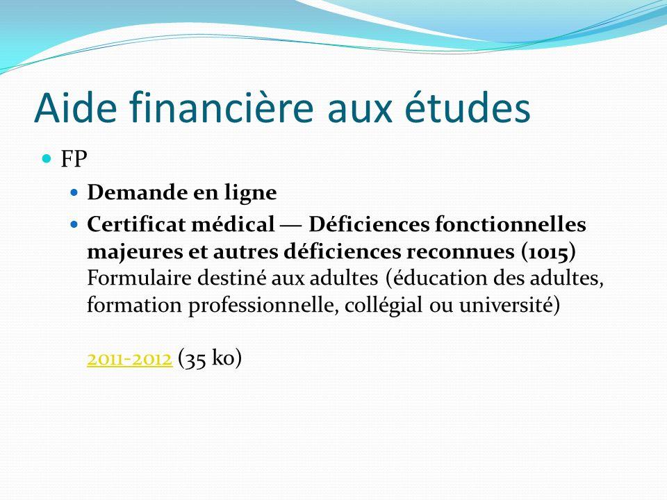 Aide financière aux études