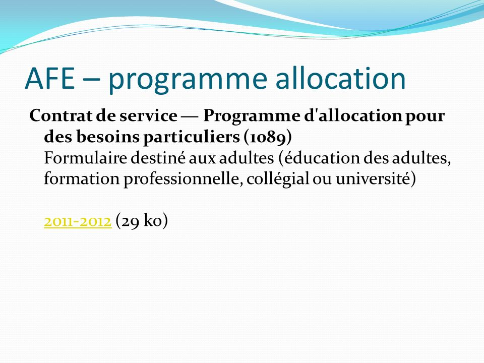 AFE – programme allocation