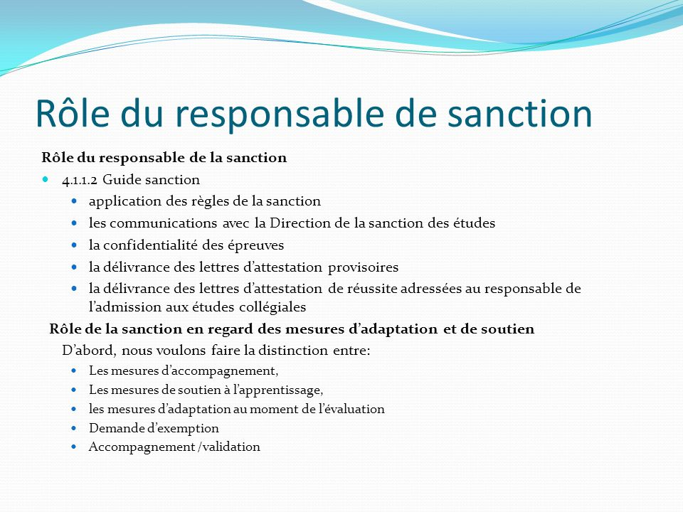 Rôle du responsable de sanction