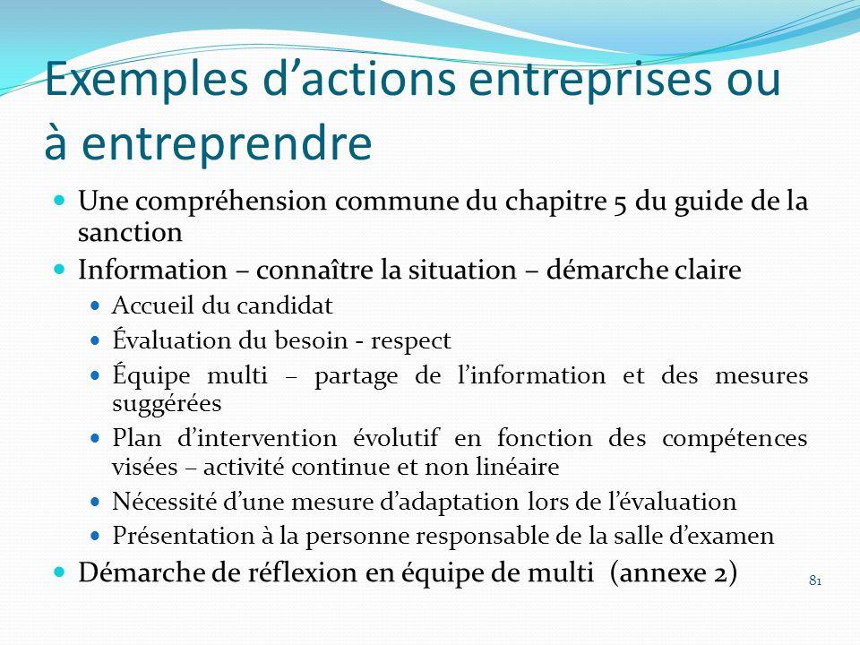 Exemples d'actions entreprises ou à entreprendre