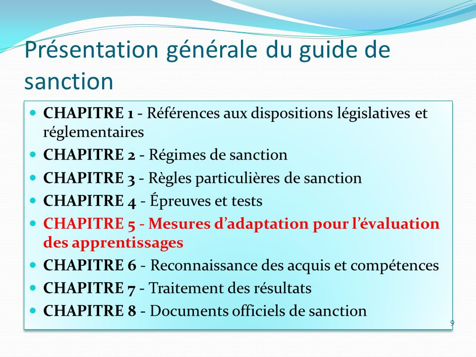 Présentation générale du guide de sanction