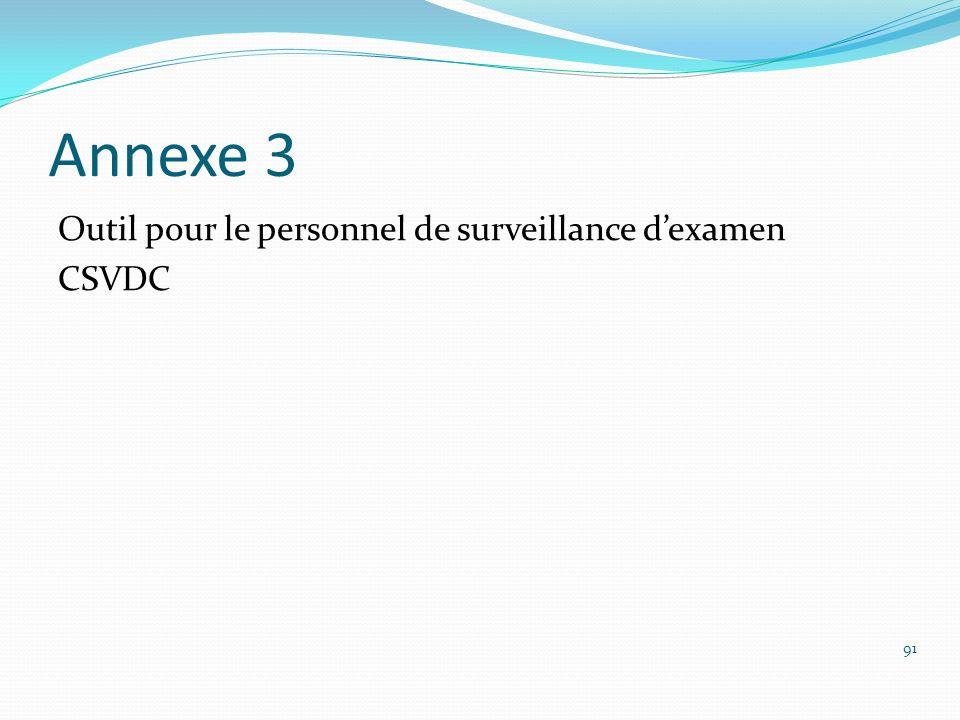 Annexe 3 Outil pour le personnel de surveillance d'examen CSVDC