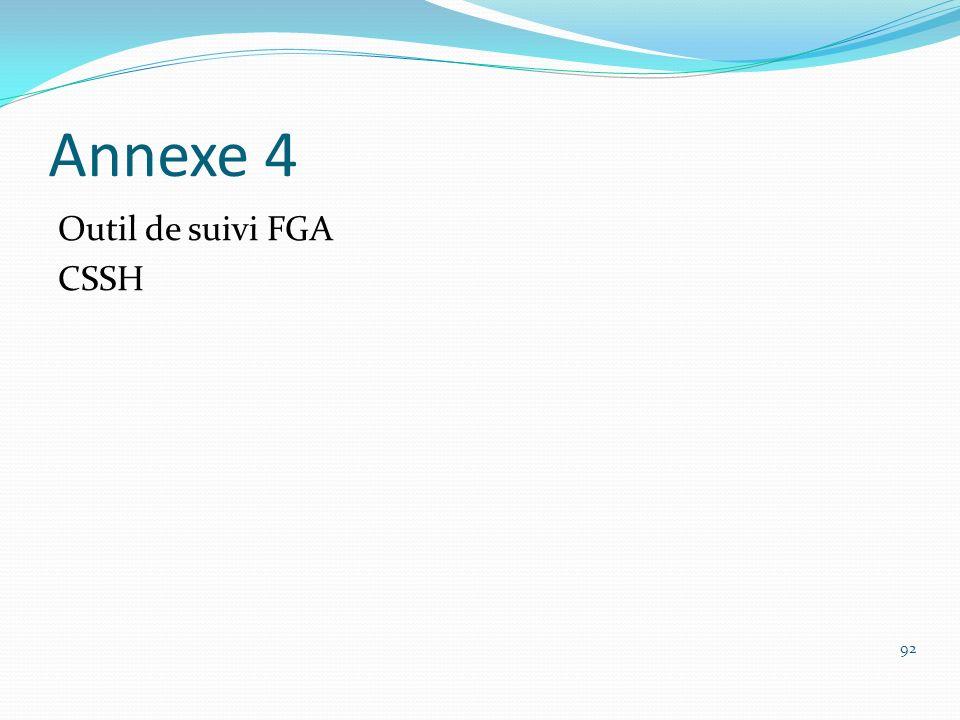 Annexe 4 Outil de suivi FGA CSSH