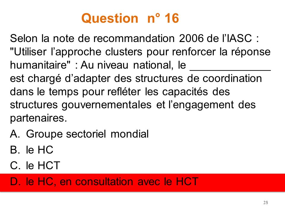 Question n° 16