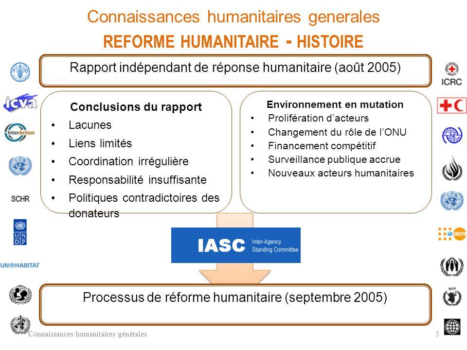 Connaissances humanitaires generales reforme humanitaire - histoire