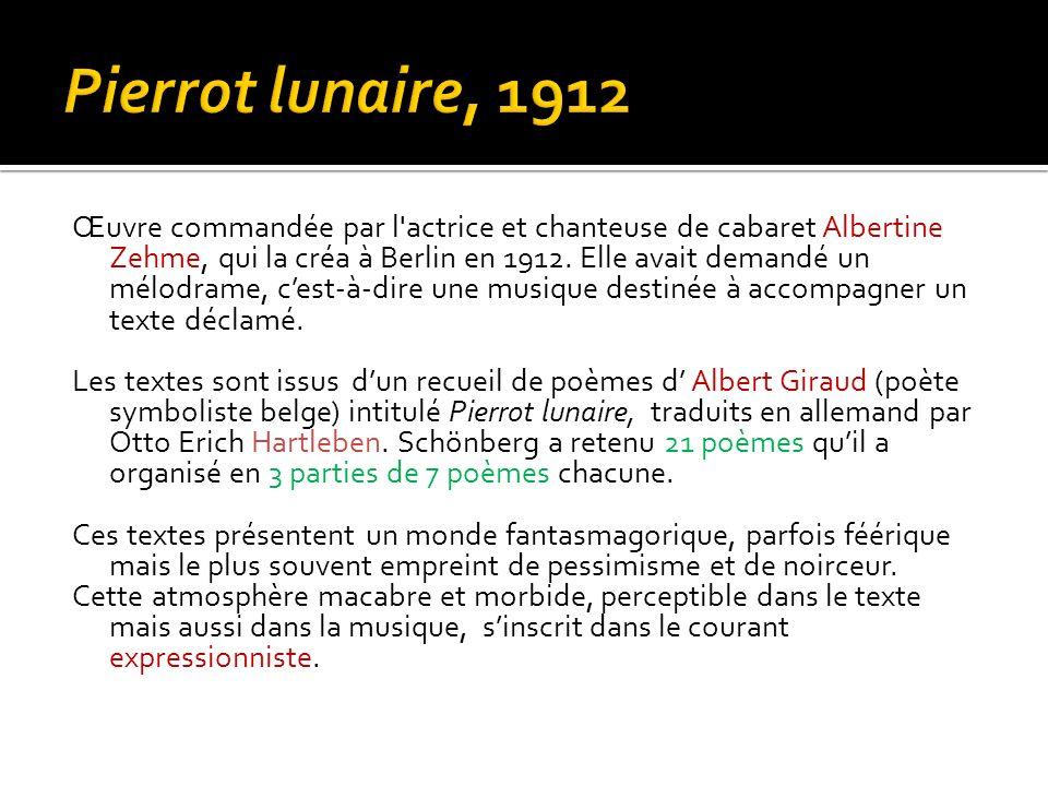 Pierrot lunaire, 1912