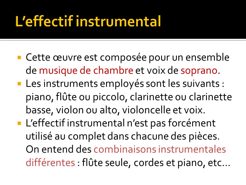 L'effectif instrumental