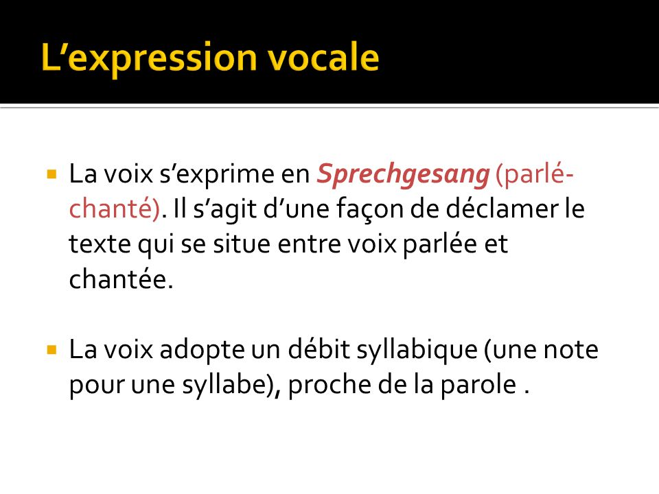 L'expression vocale