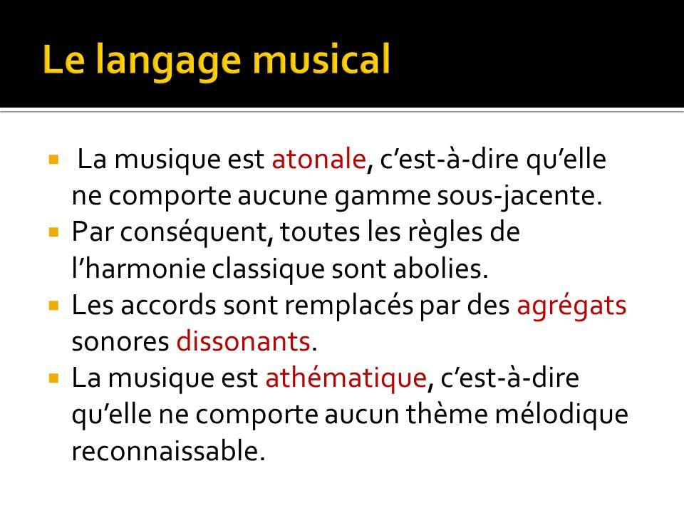 Le langage musical La musique est atonale, c'est-à-dire qu'elle ne comporte aucune gamme sous-jacente.