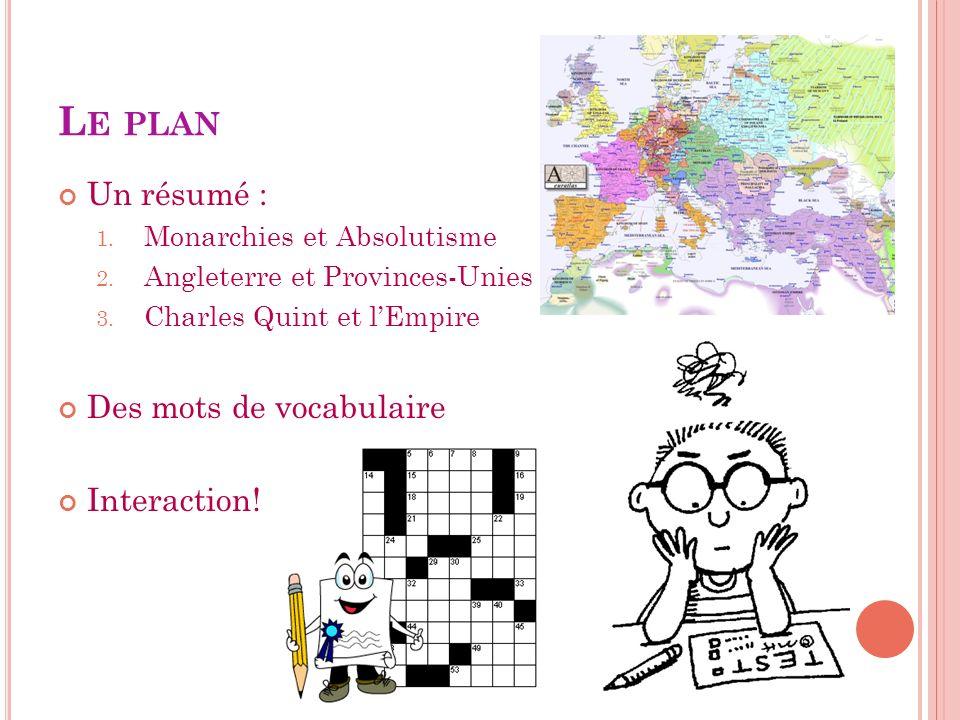 Le plan Un résumé : Des mots de vocabulaire Interaction!