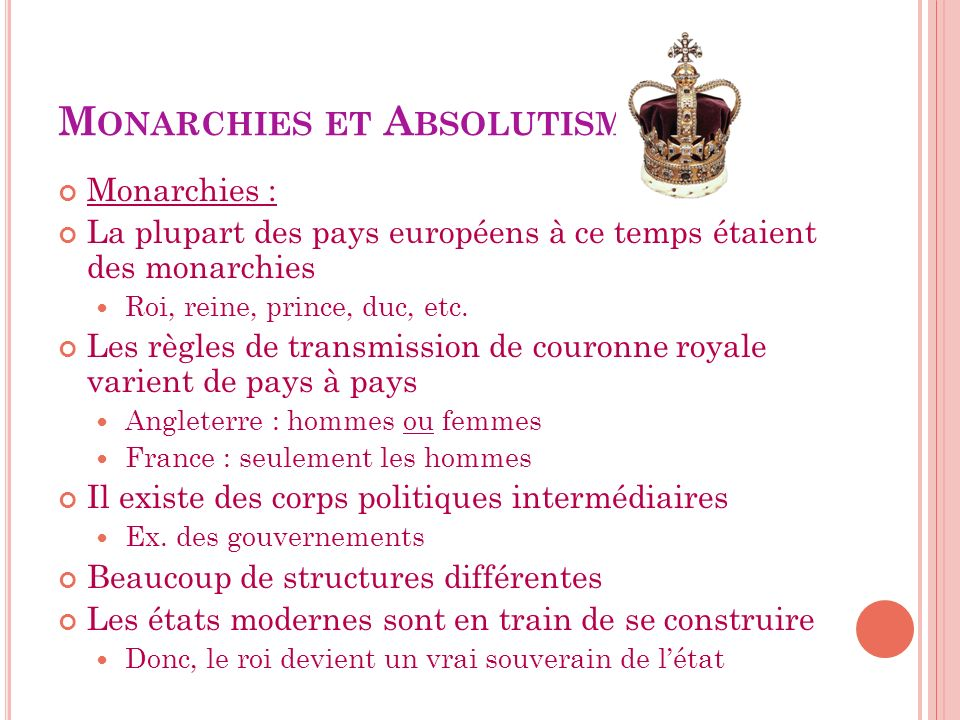Monarchies et Absolutisme