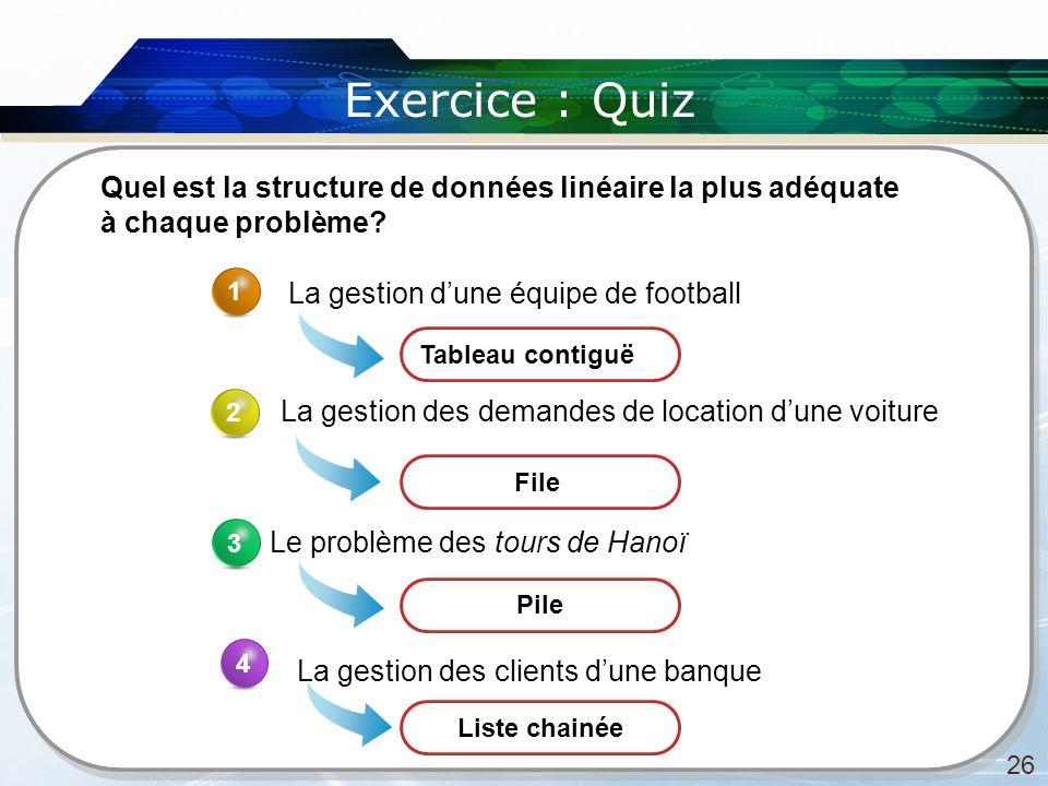 Exercice : Quiz Quel est la structure de données linéaire la plus adéquate à chaque problème 1. La gestion d'une équipe de football.