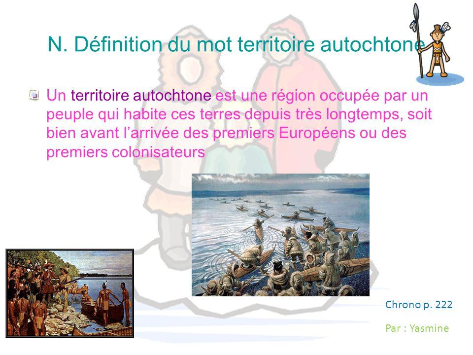 N. Définition du mot territoire autochtone
