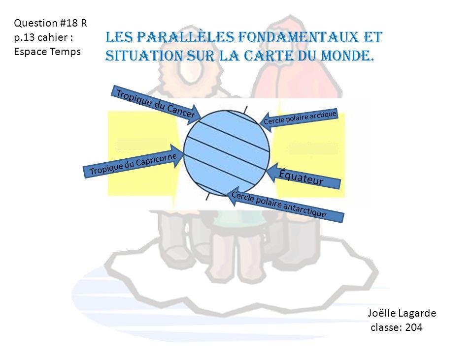 Les parallèles fondamentaux et situation sur la carte du monde.