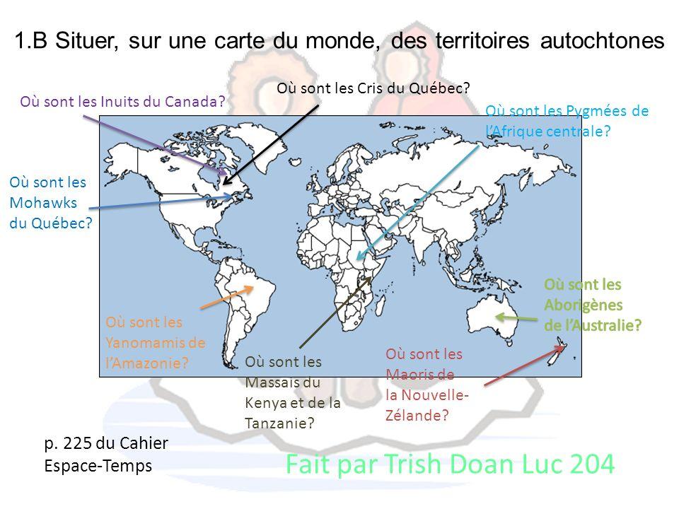 1.B Situer, sur une carte du monde, des territoires autochtones