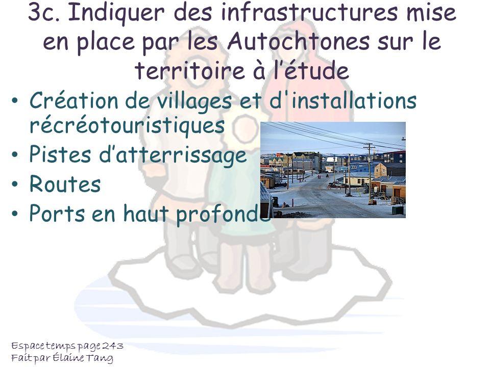 3c. Indiquer des infrastructures mise en place par les Autochtones sur le territoire à l'étude