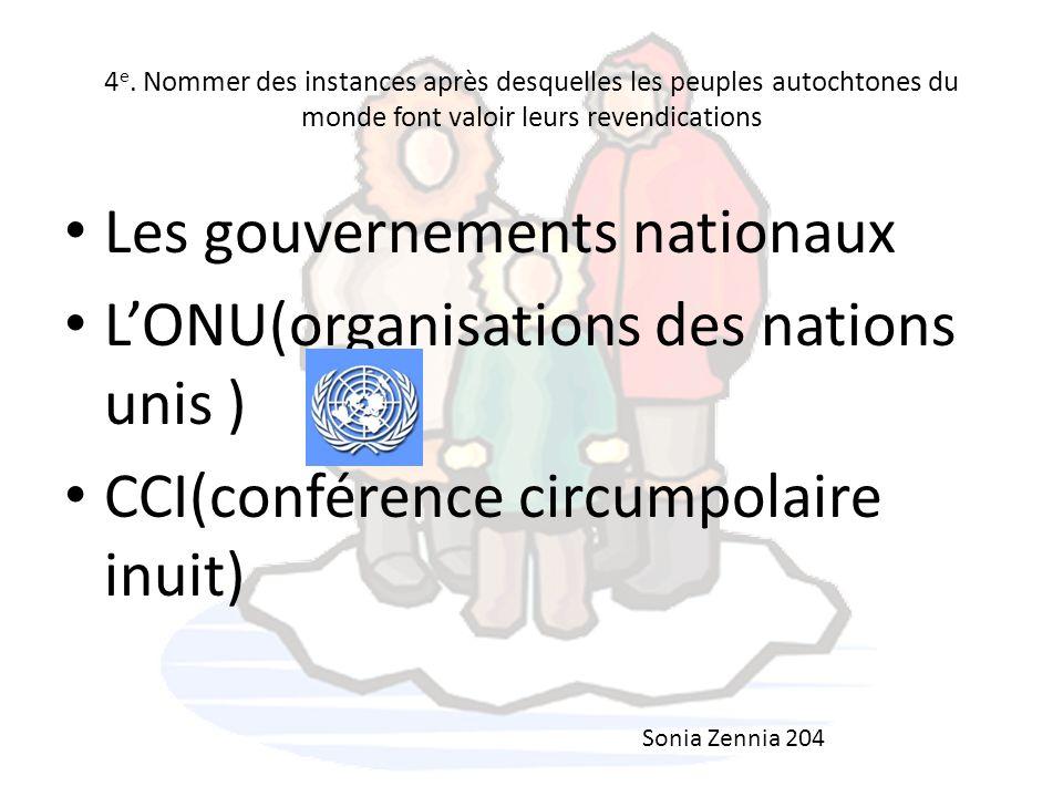 Les gouvernements nationaux L'ONU(organisations des nations unis )