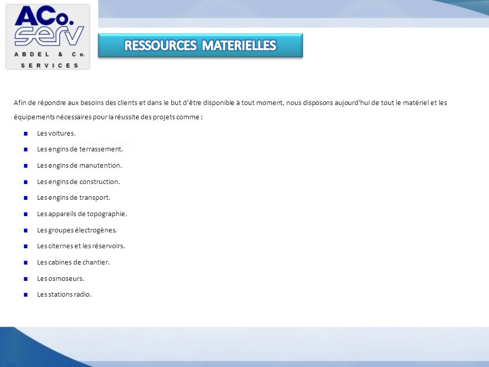 RESSOURCES MATERIELLES
