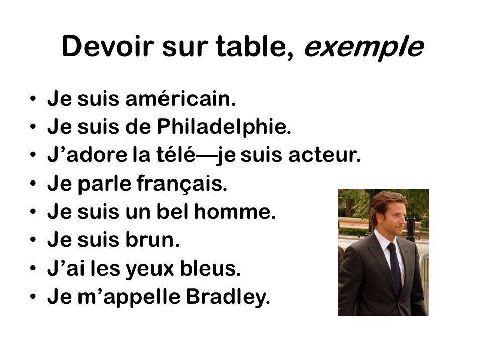 Devoir sur table, exemple