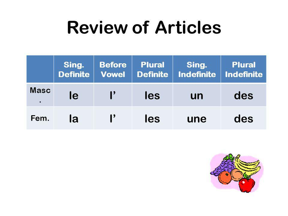 Review of Articles le l' les un des la une Sing. Definite Before Vowel