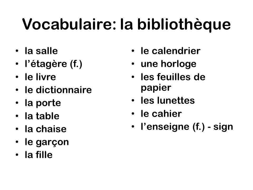 Vocabulaire: la bibliothèque