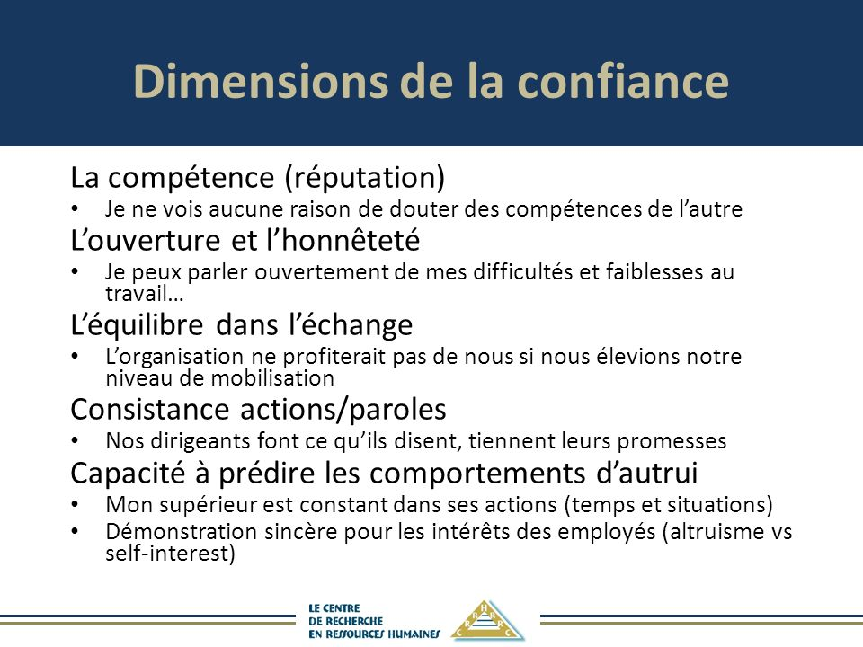 Dimensions de la confiance
