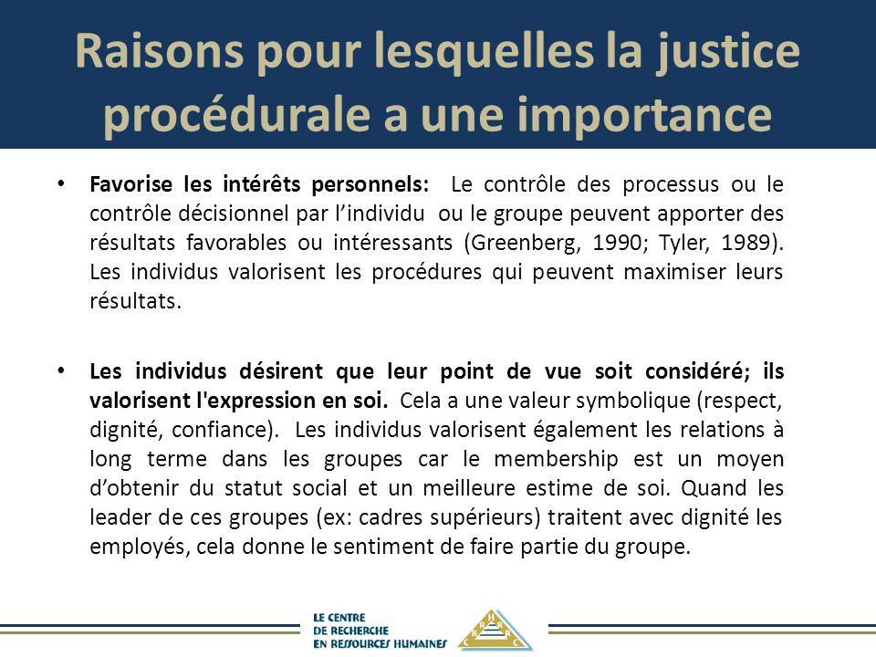 Raisons pour lesquelles la justice procédurale a une importance