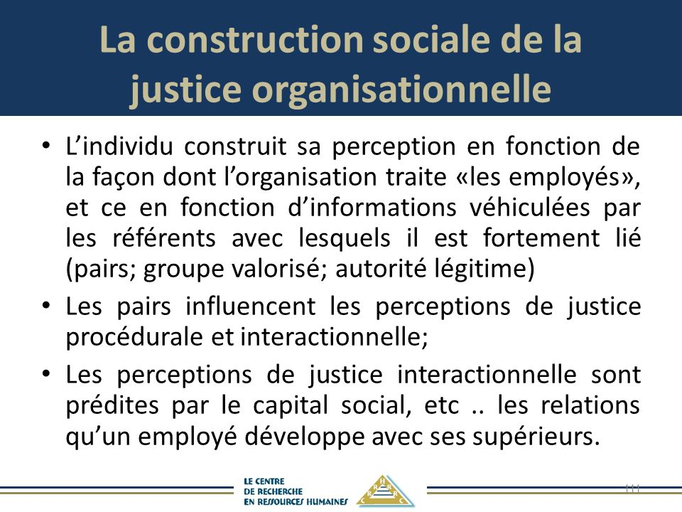 La construction sociale de la justice organisationnelle
