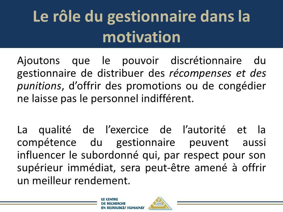 Le rôle du gestionnaire dans la motivation